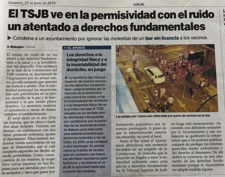 Recorte Última Hora noticia STSJIB ruido Puigpnyent