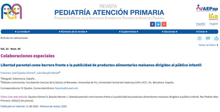 Captura de la Revista Pediatría de Atención Primaria