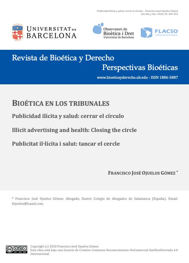 Portada Revista Bioética y Derecho. Artículo de Francisco José Ojuelos Gómez. Publicidad ilícita y salud: cerrar el círculo.